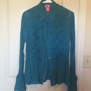 Tops - Sheer Victorian Button Up Confetti Blouse- teal